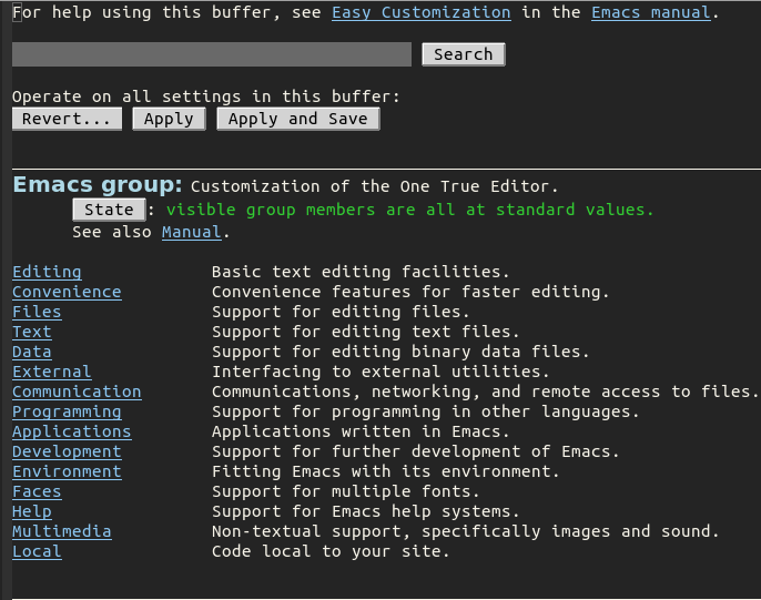 GNU Emacs' customization screen